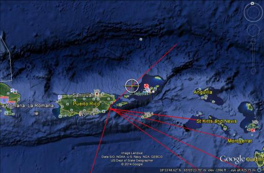 ISS launch from Puerto Rico stage recovery at US Virgin Island with a ballistic trajectory