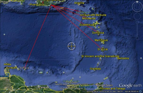 Puerto Rico launch at a heading of 202 degrees without a first stage dogleg 432 miles to Bonaire (sunsynchronos orbit).